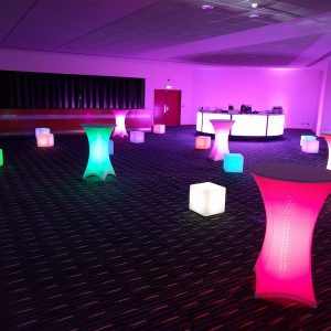 LED Tables Seats Chairs for Hire